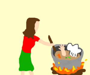 lady cooking the chef's body for diner