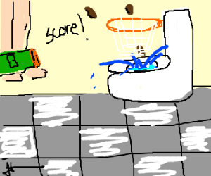 Poops go in the toilet - basketball style