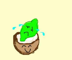 Lime crying in happy coconut