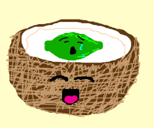 Sad lime in happy coconut!