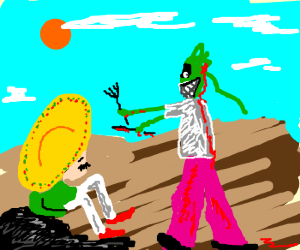 Zombi-girl wants to eat a mexican