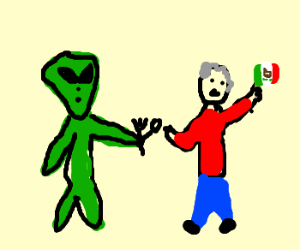 Creepy alien offers utensils to old Mexican