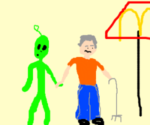 alien in mexico to get lunch with an old man