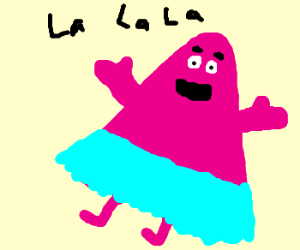 Grimace in a tutu singing and dancing.