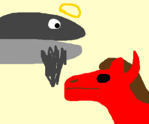 Devil-horse and Whale-god, together.