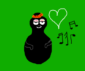 Bowling pin is in love with musical notes