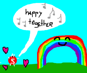 Amorous skittle sings Happy Together 2 rainbow