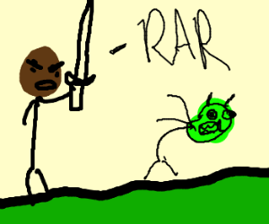AfricanAmerican w/ sword attacking GreenMidget