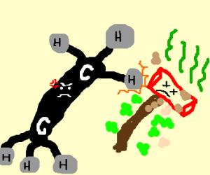 Giant ethane molecule terrorises smelly hammer