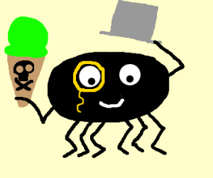 Spider gentleman doffs tophat, icecream poison