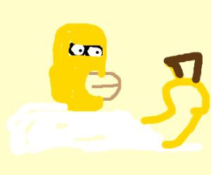 Homer Simpson with empty ice cream cone