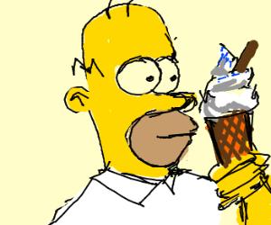 Homer holding an ice cream