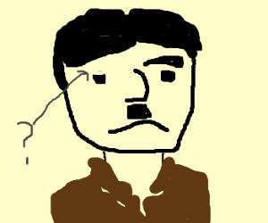 hitler lost his left eyebrow