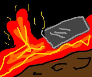 A Lava Jet near a Floating Metal Platform.