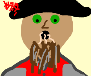 Pirate with a nice beard and hat eats worms