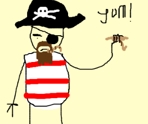 Pirate eating worms