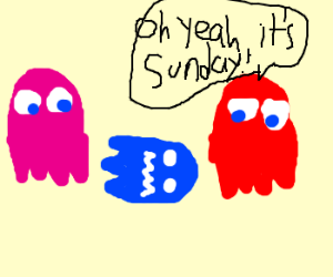 pac man ghost is dead on sundays