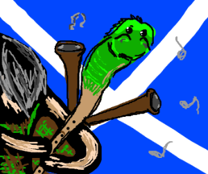 A seahorse with bagpipe legs.