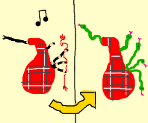 Bagpipes turn into snakes