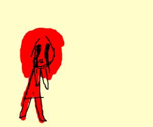 half-lava hair girl crying black tears