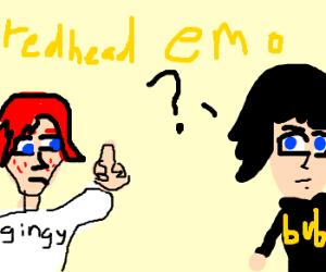 Redhead flips off emo