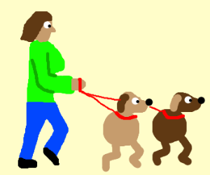 Girl walks her biped dogs