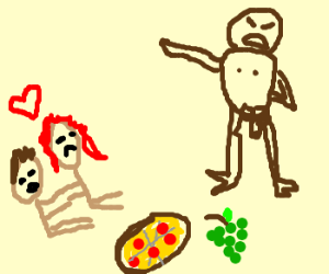 Mean naked guy stop lovers to eat their lunch