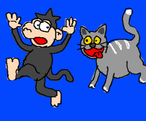 A cat chasing a monkey IN THE BLUE ETERNITY