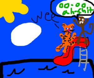Monkey in fear, but cat enjoys waterpark ride.