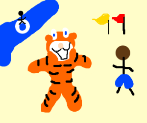 Tony the tiger at a waterpark with black man