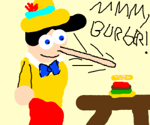 Pinocchio lies about wanting a burger