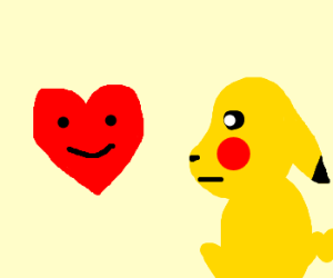 Pikachu stares at sentient heart