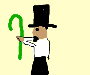 Abe Lincoln strangles a green cane