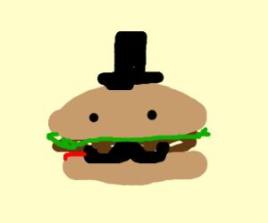 Fancy Top Hatted Mustachioed Hamburger