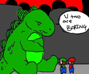 Godzilla bored with Mario and Luigi