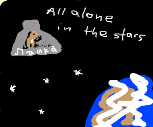 dog astronaut in outer space