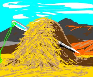 A needle hides in a haystack.