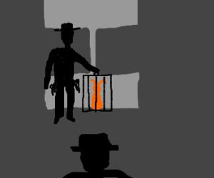 cowboy sells orange rabbit to large mobster