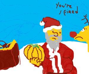 Santa ponders powering his sleigh w/ pumpkins
