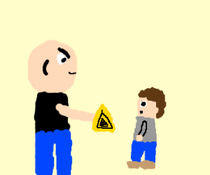 dude with yellow triangle hypnotize kids