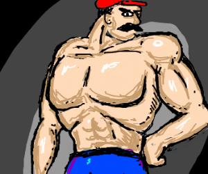 Realistic muscular mario