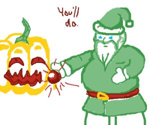 Green Santa replaces Rudolph w/ Jack-o-lantern