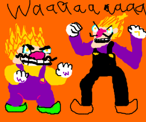 Wario and Waluigi power up DBZ style