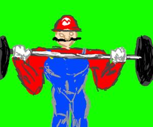 Mario lifting weights.
