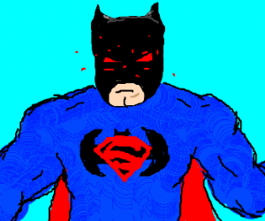 Super(Bat)Man flies over Earth w/ laser eyes