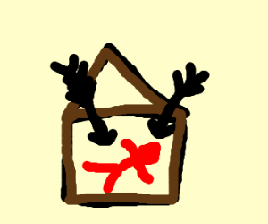 Giant arrows fall on man in house wearing red