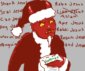 Satan Claus reads naughty list