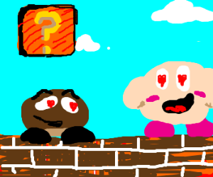 Goomba and Kirby in love