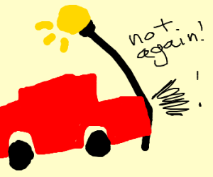 Car hits lamp post... again