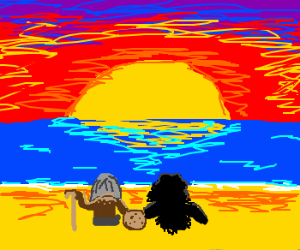 old man cookie and a shadow at beach sunset